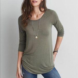 AEO Soft & Sexy Jegging T Long Sleeve Tee Green S